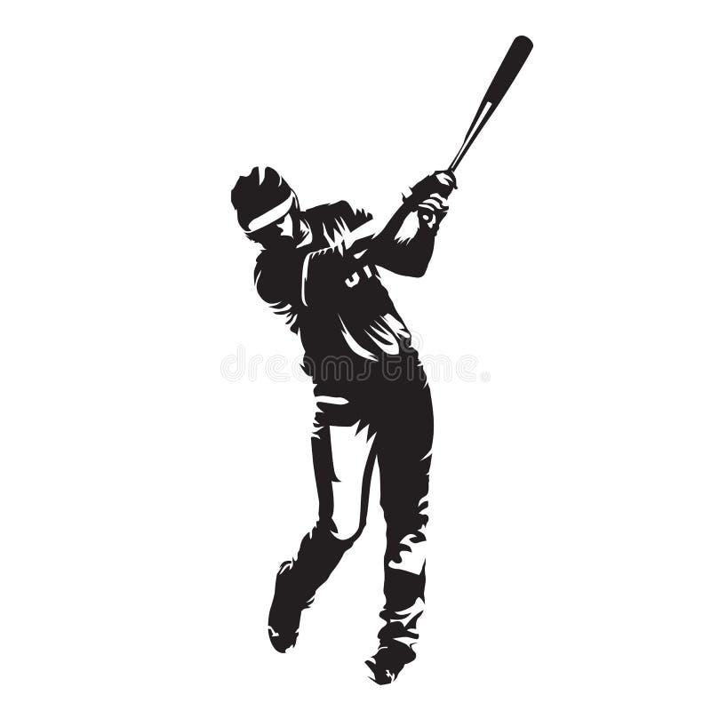 Бэттер бейсболиста, силуэт вектора бесплатная иллюстрация