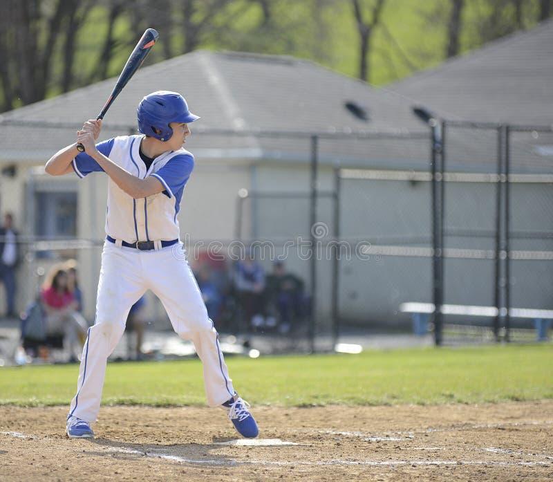 Бэттер бейсбола времени средней школы стоковое изображение rf
