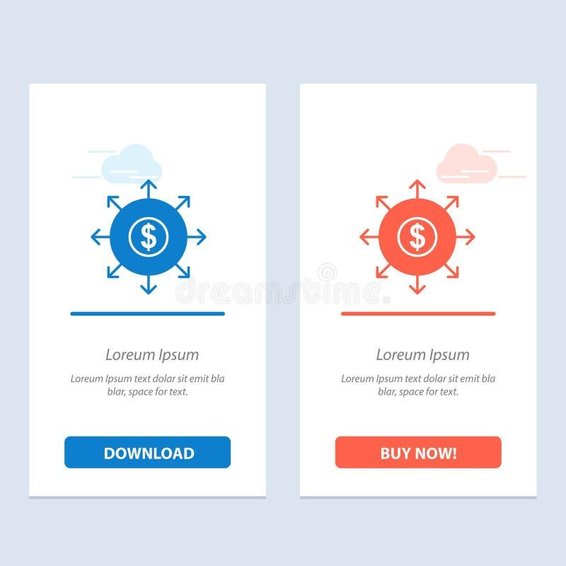 Бюджет, банк, список, синь наличных денег и красная загрузка и купить теперь шаблон карты приспособления сети бесплатная иллюстрация