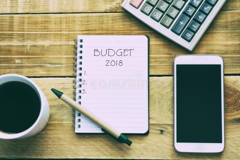 Бюджет 2018 концепции Нового Года стоковое изображение