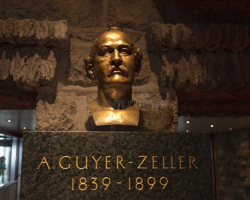 Бюст a Guyer-Zeller, предприниматель и основатель железной дороги Jungfrau в Швейцарии стоковые изображения