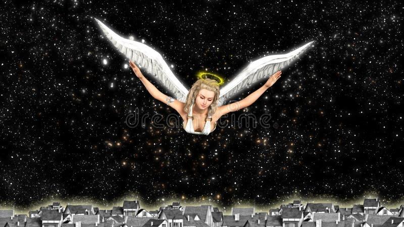 благословение ангел-хранителя и распространяя доброта иллюстрация вектора