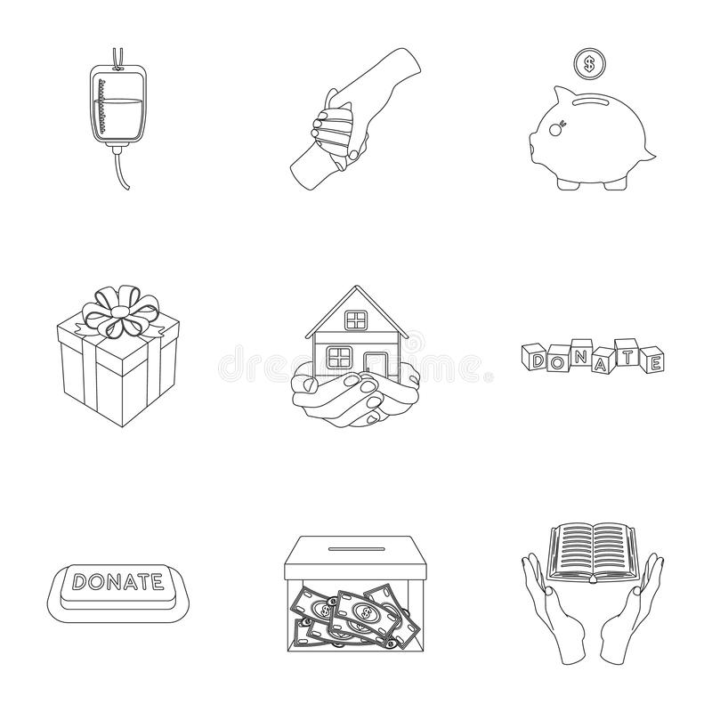 Благотворительный фонд Значки на людях и пожертвовании порции Значок призрения и пожертвования в собрании комплекта на стиле план иллюстрация штока