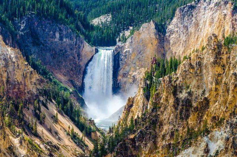 Благоустраивайте взгляд на гранд-каньоне Йеллоустона, США стоковая фотография