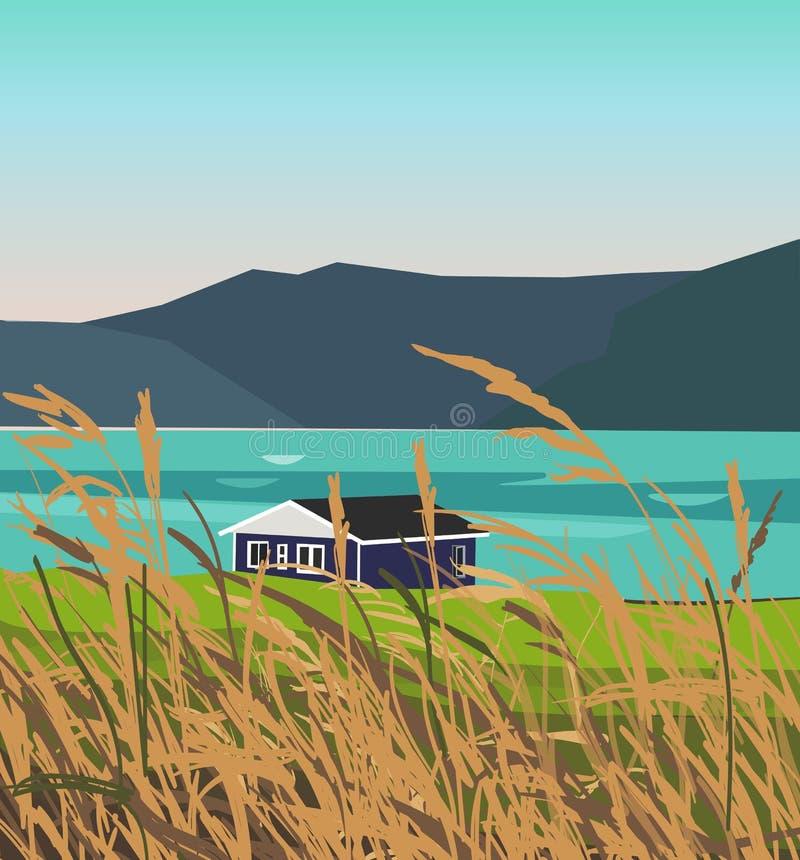 Благоустраивайте иллюстрацию гор около озера и поля на переднем плане иллюстрация штока