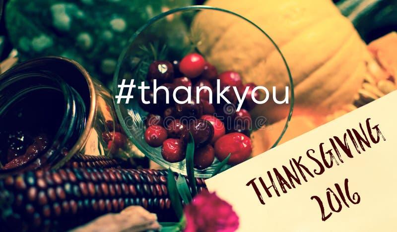 Благодарение карточки Hashtag спасибо спасибо стоковая фотография rf