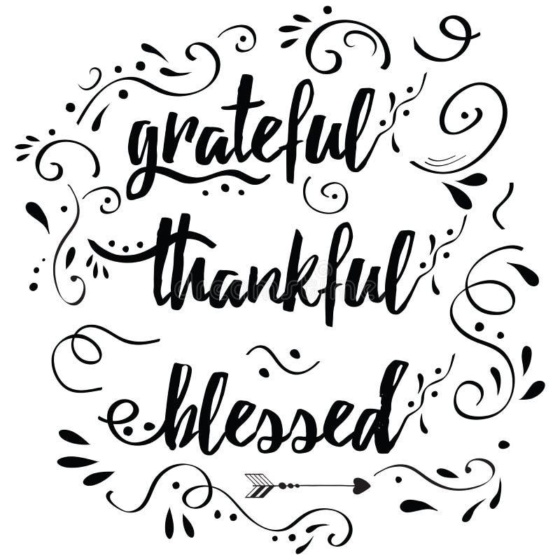 Благодарная признательная благословленная карточка вектора нарисованная рукой украсила флористический орнамент стоковые изображения rf