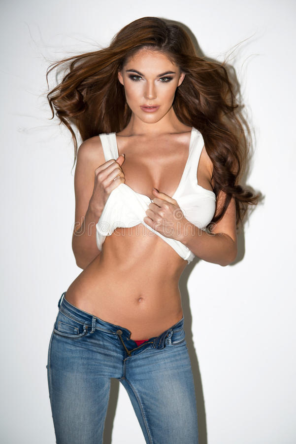 Блестящая curvy женщина брюнет стоковое фото rf