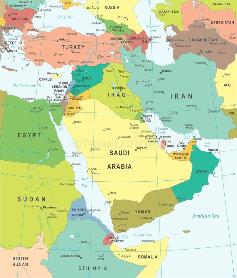 Ближний Восток и Азия - карта - иллюстрация иллюстрация вектора