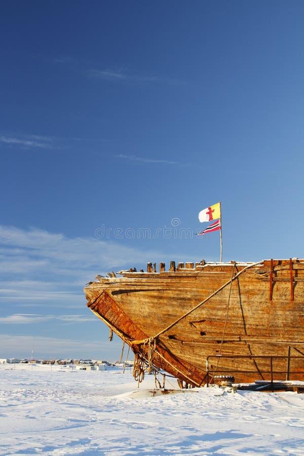 Близкий взгляд остаток кораблекрушением Maud, залив Nunavut Кембриджа стоковое фото