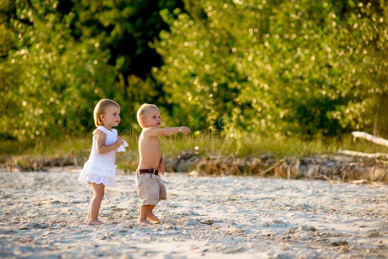 Близнецы идя на пляж стоковые фотографии rf