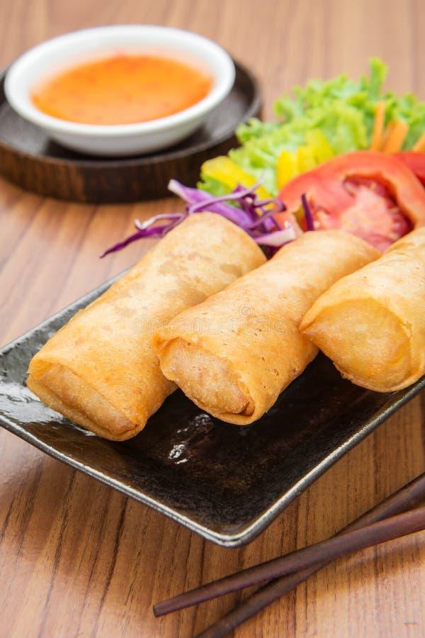 Блинчики с начинкой и сладостный соус погружения chili стоковая фотография rf
