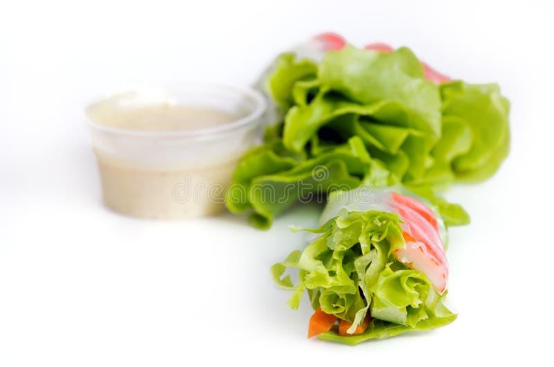 Блинчик с начинкой салата с зеленым овощем дуба и batavia & x28; Съешьте p стоковая фотография