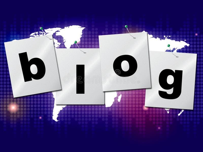 Блог мира показывает всемирные планету и блоггер иллюстрация вектора