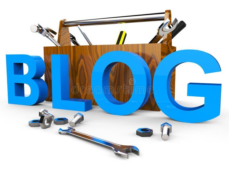 Блог оборудует Всемирный Веб и блоггер середин иллюстрация штока
