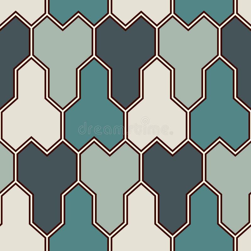 Блокируя предпосылка 3 направленная блоков Картина мозаики безшовная с геометрическими диаграммами Восточный орнамент мостоваой иллюстрация вектора