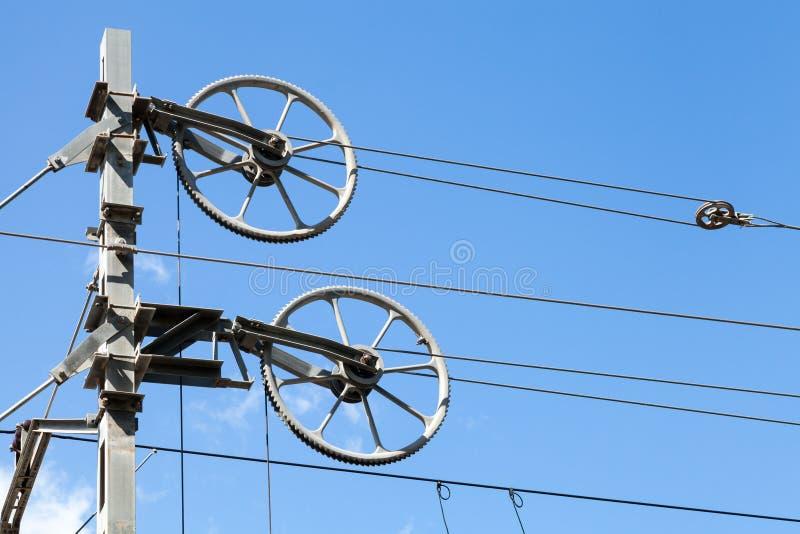 Блоки колеса для напрягая несущих продольных тросов в системах цепной подвески стоковые фотографии rf