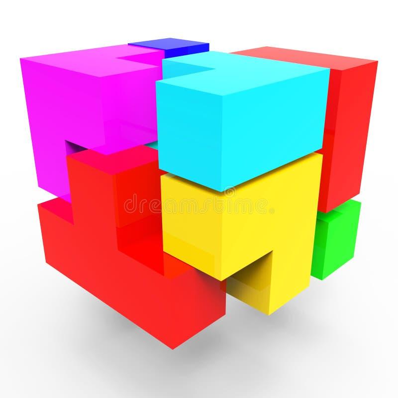 Блоки синергии представляют работу команды и соединяются бесплатная иллюстрация