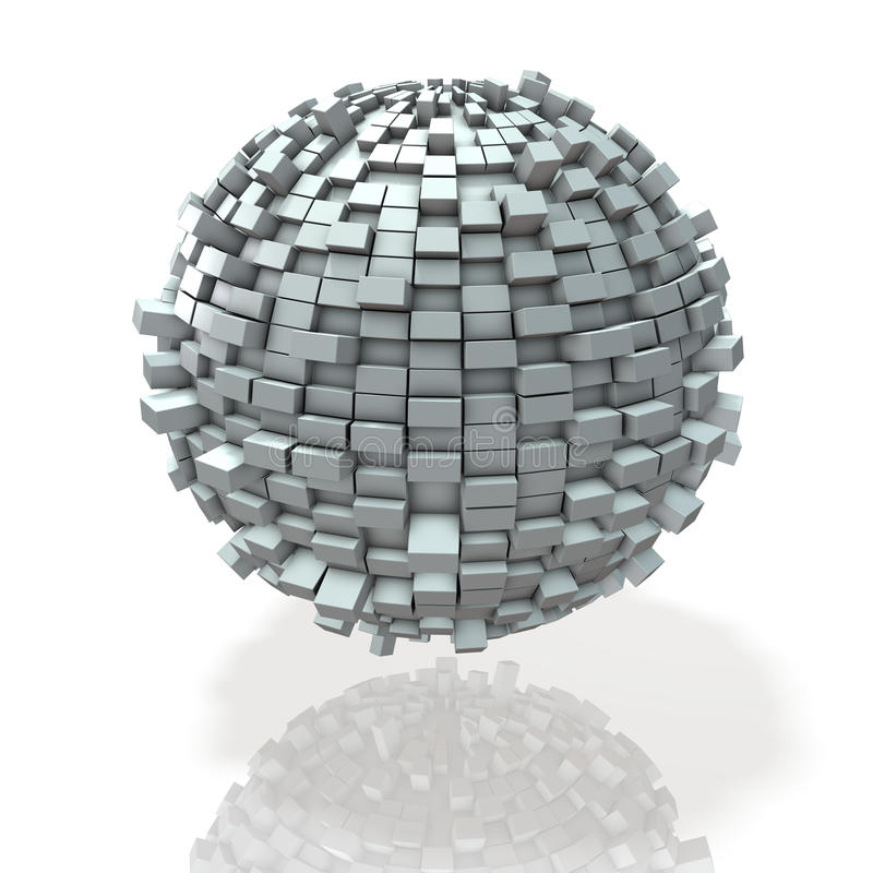 Блоки строят мир плотно в сферически форму бесплатная иллюстрация
