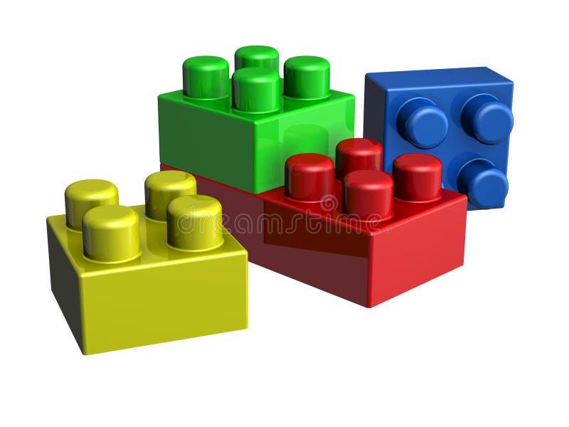 блоки lego 3D иллюстрация вектора