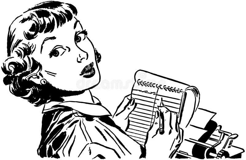 Блокнот дамы С иллюстрация вектора