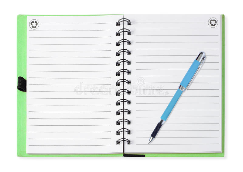 Блокнот при голубая ручка, изолированная на белизне стоковая фотография rf
