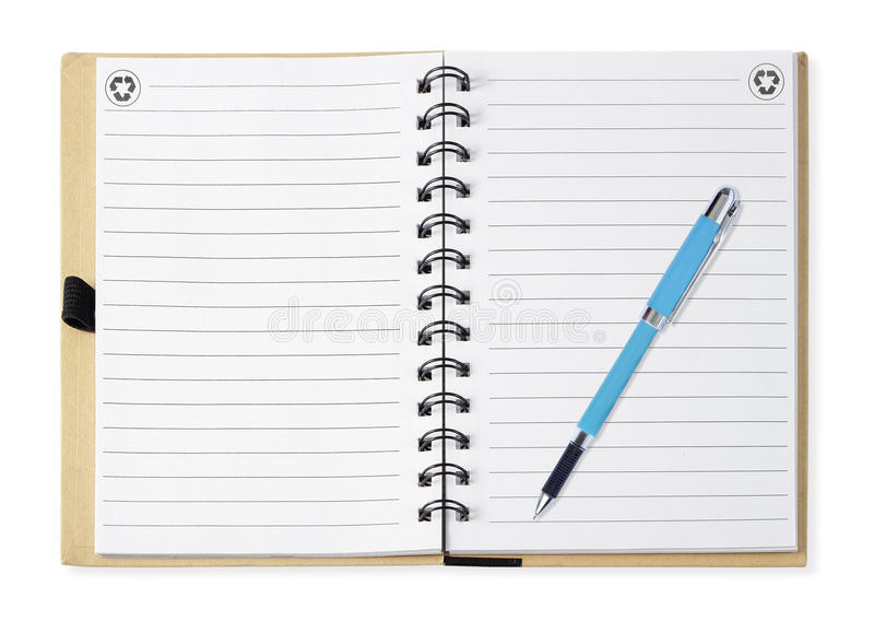 Блокнот при голубая ручка, изолированная на белизне стоковое изображение