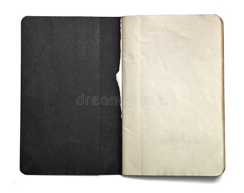 Блокнот пробела открытый при черный титульный лист изолированный на белой предпосылке стоковая фотография rf