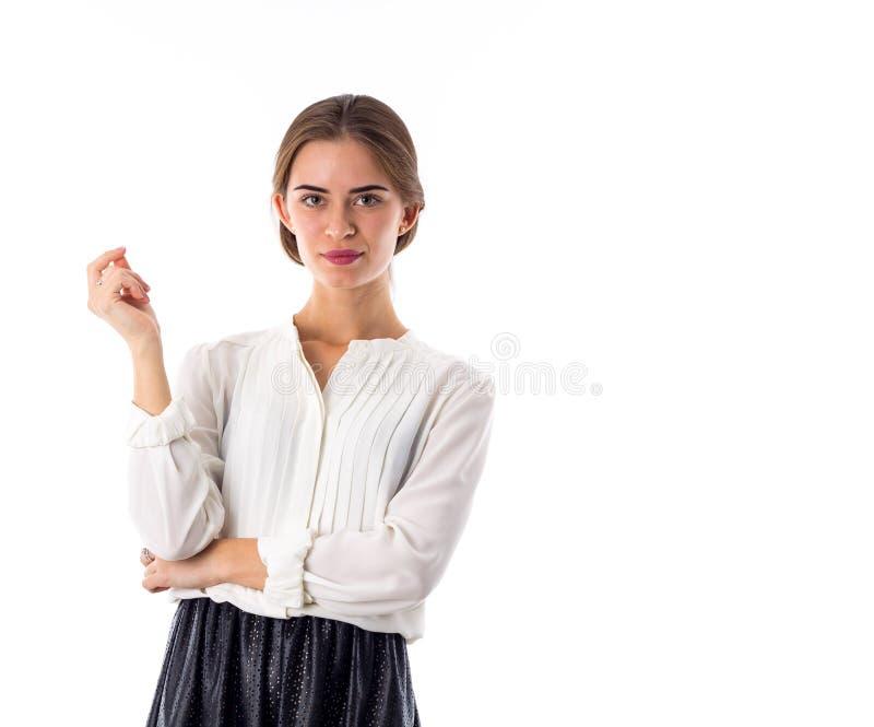 Блузка и юбка женщины нося стоковые изображения rf