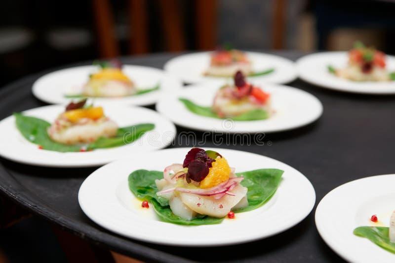 Блюда carpaccio scallop моря стоковое фото rf