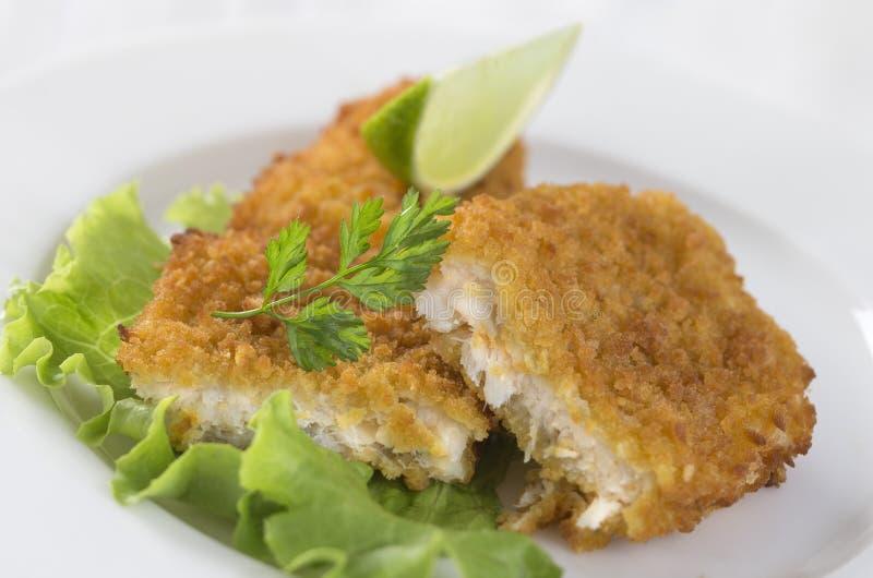 Блюдо рыб - зажаренное филе трески стоковые фото