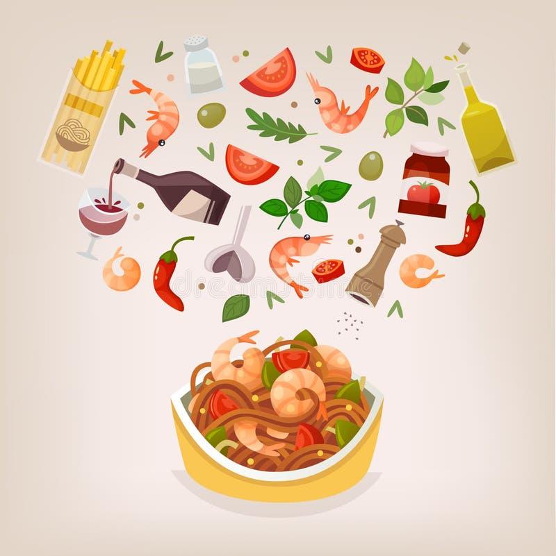 Блюдо marinara спагетти иллюстрация вектора