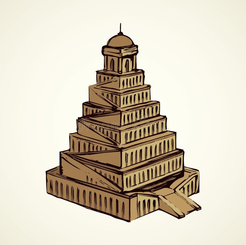 вавилонская башня предпосылка рисуя флористический вектор травы бесплатная иллюстрация