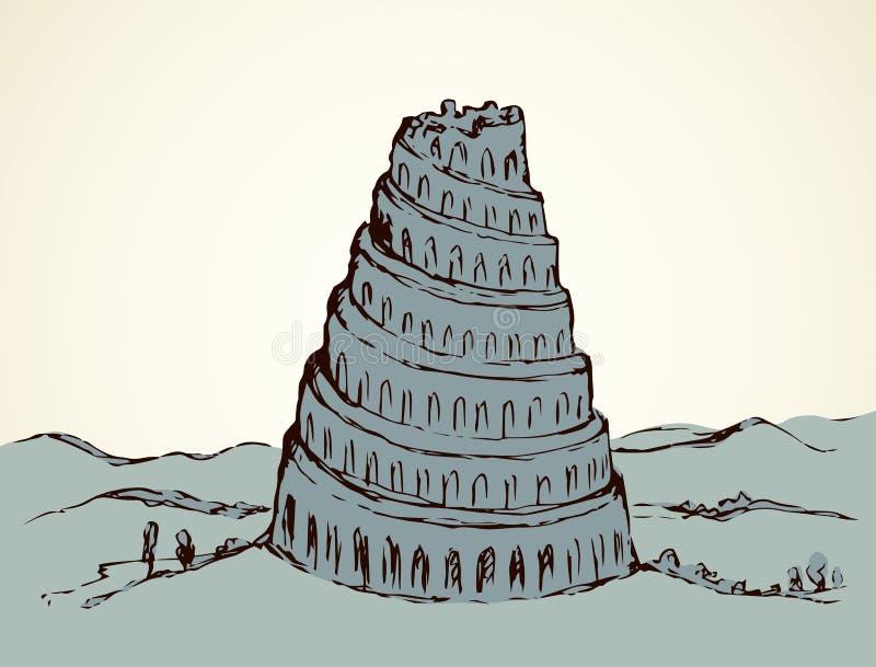 вавилонская башня предпосылка рисуя флористический вектор травы иллюстрация вектора