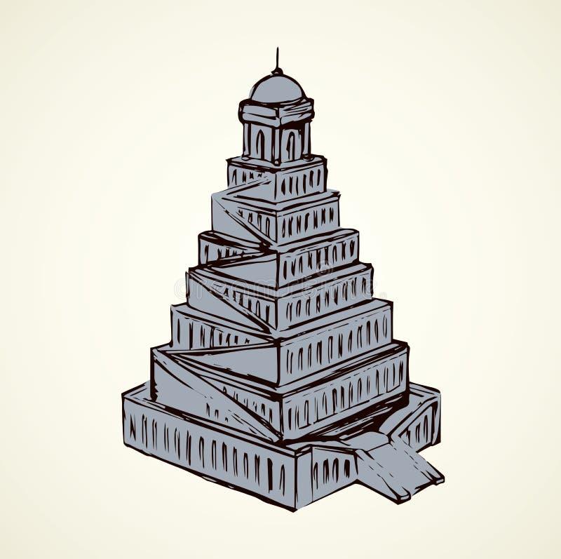 вавилонская башня предпосылка рисуя флористический вектор травы иллюстрация штока