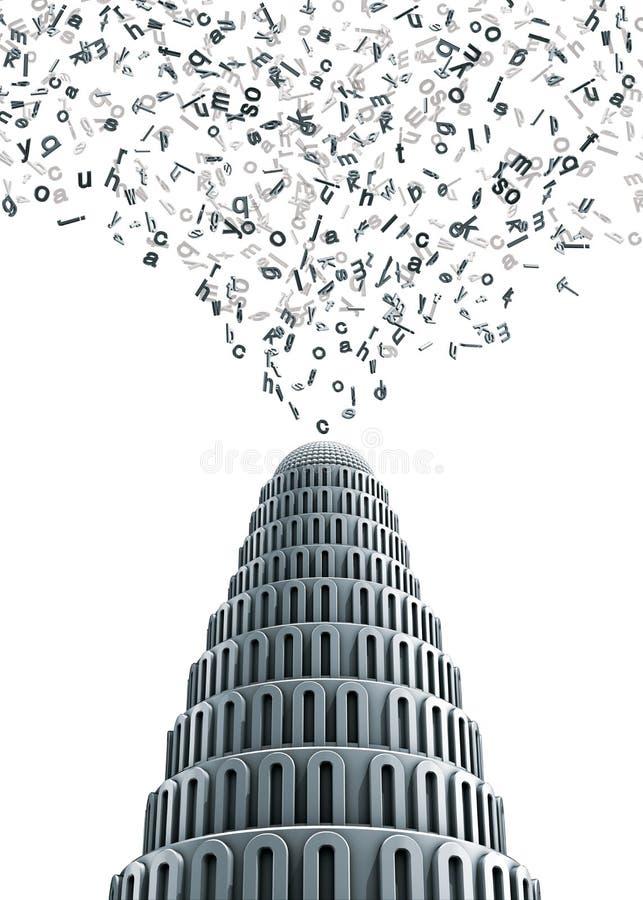 Вавилон помечает буквами башню бесплатная иллюстрация