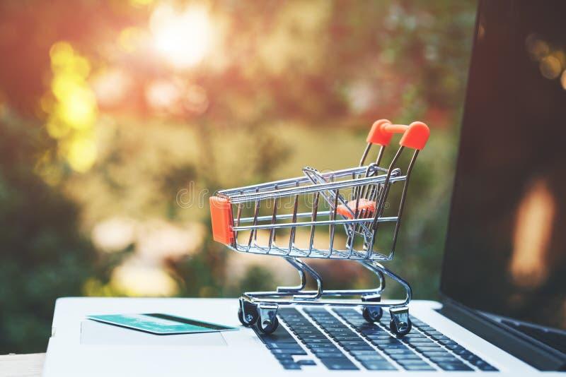 Вагонетка игрушки, кредитная карточка и открытый ноутбук на деревянном столе, космосе экземпляра, онлайн ходя по магазинам концеп стоковая фотография