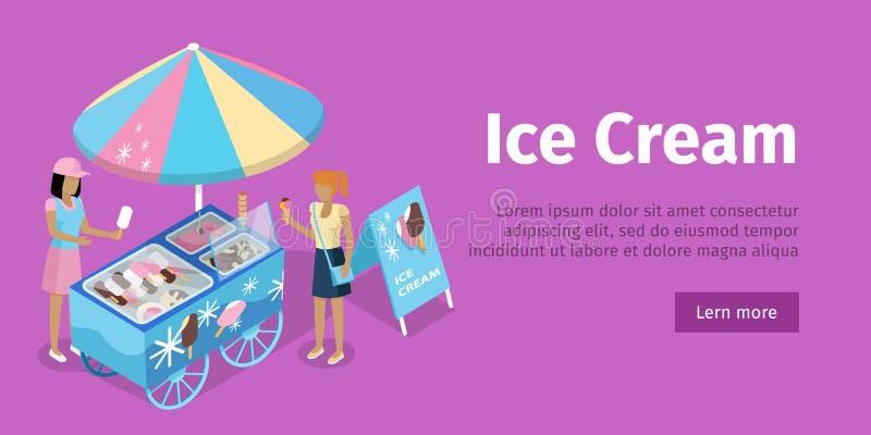 Вагонетка мороженого в равновеликой проекции вектор иллюстрация вектора
