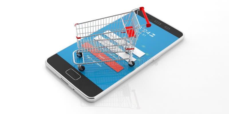Вагонетка покупок, опорожняет и smartphone изолированный на белой предпосылке иллюстрация 3d иллюстрация вектора