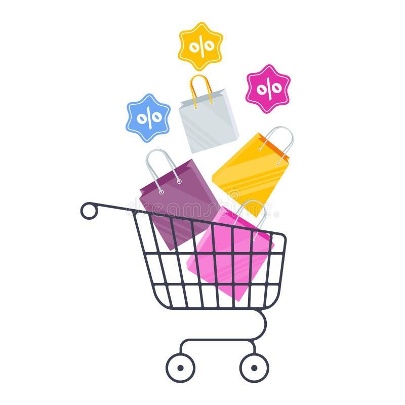 Вагонетка, сумки и подарки покупок Продажа в онлайн магазине бесплатная иллюстрация