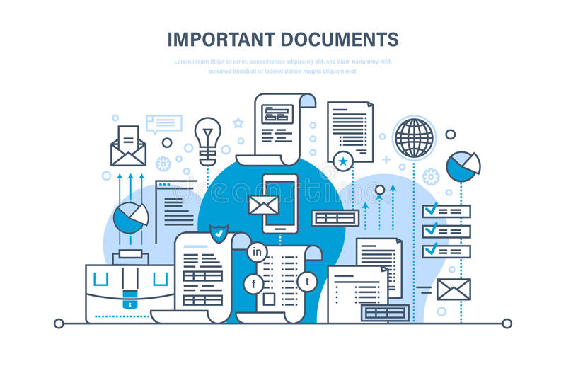 Важная концепция документов Деловые документы, дело учитывают, работающ файлы рапорта иллюстрация штока