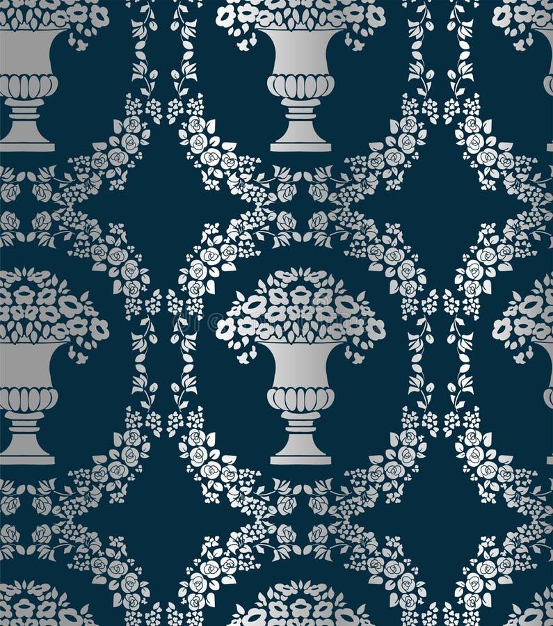 Ваза безшовной картины вектора штофа винтажной цветистая иллюстрация штока