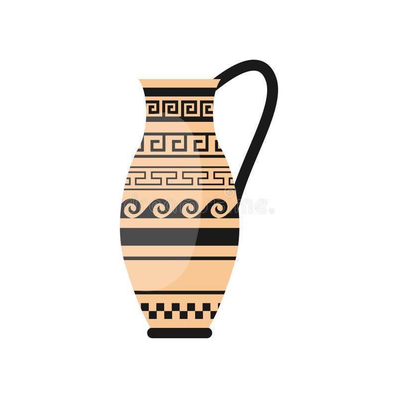 Ваза руки древнегреческого одного с орнаментом волны иллюстрация штока