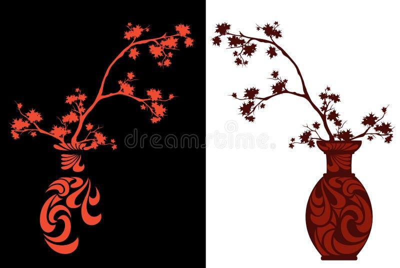 Ваза сезона осени японская с дизайном вектора ветвей клена иллюстрация штока