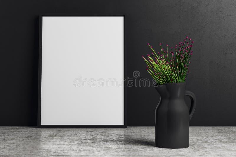 Ваза с цветками на черной предпосылке иллюстрация вектора