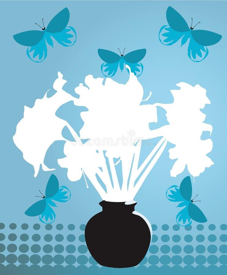 Ваза цветка с бабочками иллюстрация вектора