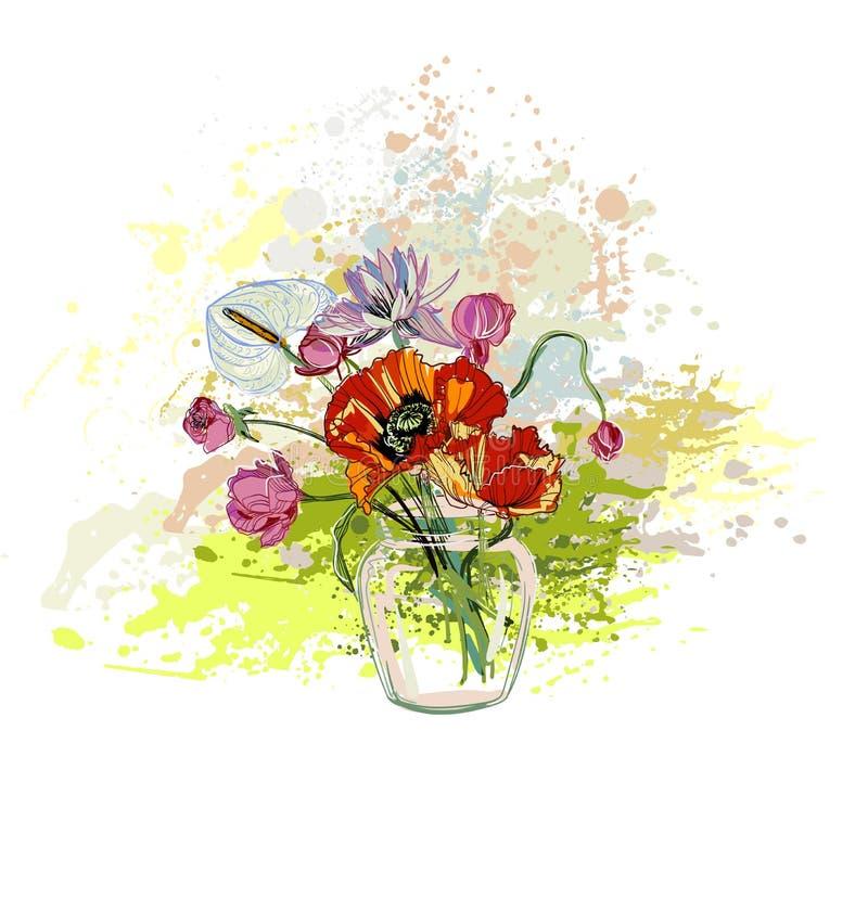 Вазы предпосылки цветка вектора букет красочной стеклянный бесплатная иллюстрация