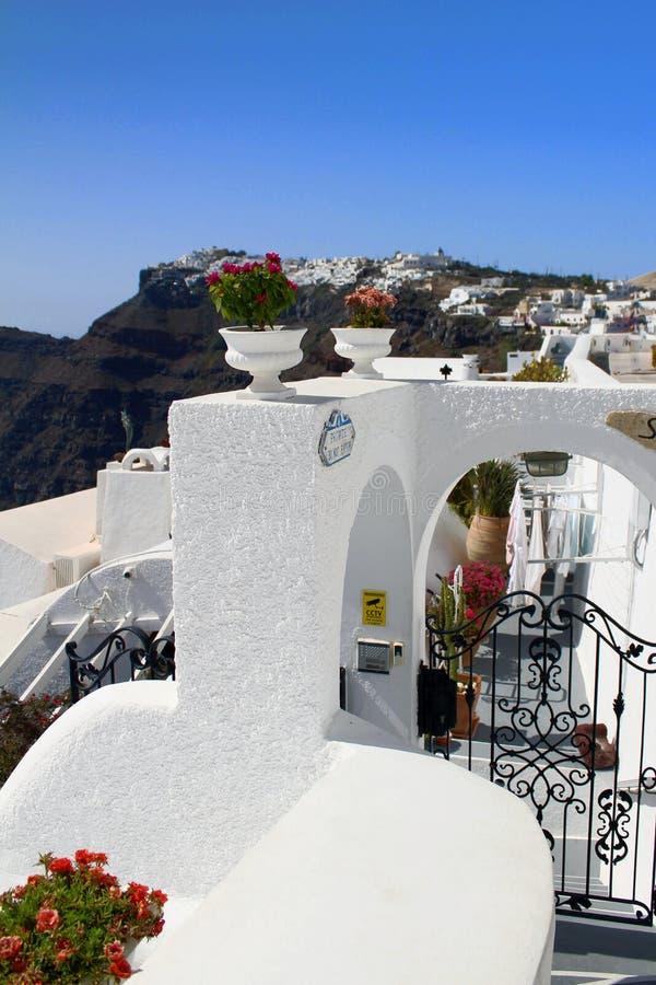 Вазы цветков - изображения Santorini вертикального стоковая фотография rf