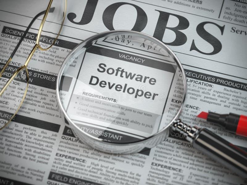 Вакансия разработчика программного обеспечения в объявлении газеты поиска работы с loupe бесплатная иллюстрация