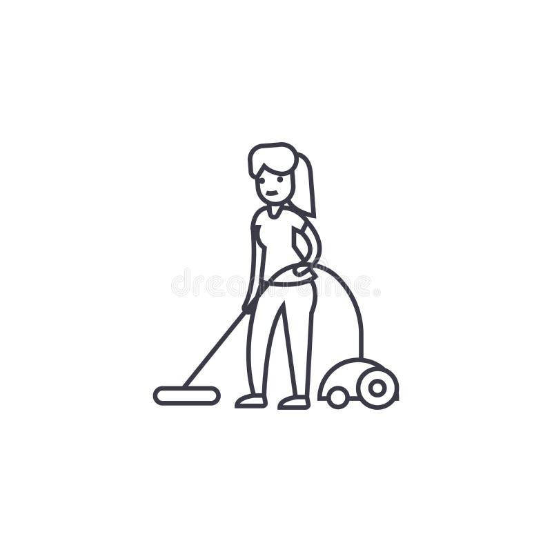 Вакуумируйте линию значок вектора чистки, знак, иллюстрацию на предпосылке, editable ходах бесплатная иллюстрация